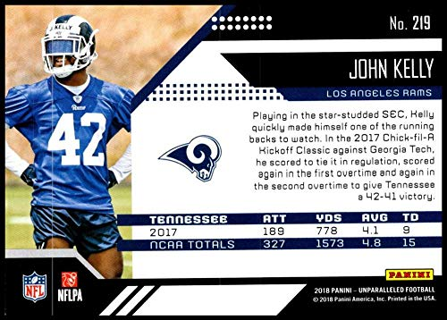 db1d01ef5 Amazon.com  2018 Unparalleled NFL  219 John Kelly RC Rookie Los Angeles Rams  Rookie Panini Football Trading Card  Collectibles   Fine Art