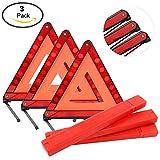 YaeTek Triple Warning Triangle Emergency Warning Triangle Reflector Safety Triangle Kit,3-Pack