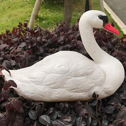 TADAMI Decor Garden Statues,Garden Hunting White Bait Plastic Pond Goose Figurines Sculpture Artwork White Swan Pet for Outdoor Patio Yard Decoration