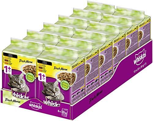 Whiskas Fresh Menue Katzenfutter in Sauce – Hochwertiges Nassfutter für gesundes Fell – 72 Portionsbeutel à 50g…