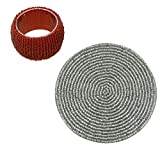 ShalinIndia Handmade Beaded Silver Coasters and Red Napkin Rings Set - Set Of 4 - 1.5 -inch Napkin Rings and 4 Inch Coasters - Perfect for Wedding and Housewarming Gifts