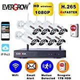 [2019 Update] EVERGROW H.265 Wireless Home Security Cameras System,1TB Hard Drive,8 Channel 1080P NVR, 8 HD 1080P 2.0MP Outdoor Indoor Home Video WiFi Cameras,100ft Night Vision Motion Detection 8CH