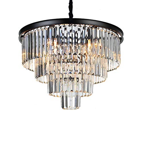 Antilisha 9 Lights Luxury Modern Crystal Chandelier Pendant Ceiling Lighting for Dining Living Room Round Fringe 4-Tier Painted Black (Tiers Round Chandelier)