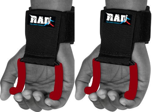RAD Heavy Duty Weightlifting Rod Hooks Wrist Support Straps Power Gripper Chin Up (Red)