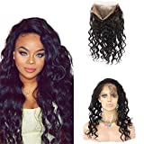 "Remeehi 360 Degree Lace Frontal Closure Brazilian Hair Loose Body Wave Lace Band Frontals 360 Lace Closure With Band Hair(12"" 1B#)"