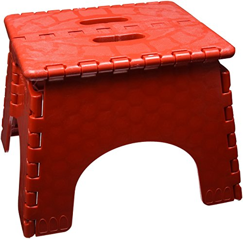 (Folding Step Stool - #101-6R - 9 Inches High - 300 Pound Capacity - Red)