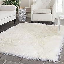 Pinkday White Fux Sheepskin Rug Faux Fur Blanket Area Shag Rug Home Decoration Carpet 5 by 5 feet