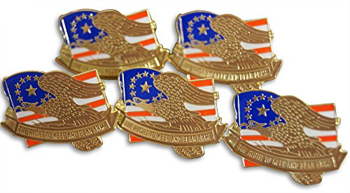 Patriotic Right to Bear Arms Flag 5-Piece Lapel or Hat Pin and Tie Tack Set with Clutch Back by Novel (Bear Arms Costume)