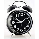 "Alarm Clock,Arespark Twin Bell Alarm Clock with Stereoscopic Dial, 4"" Quiet Non-ticking Silent Quartz Analog Retro Vintage - Loud Alarm and Nightlight - Black"