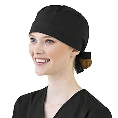 Ghazzi Unisex Scrub Cap Cotton Bandage Button Adjustable Nursing Scrub Cap Beauty Work Hat Surgical Bouffant Dustproof at Women's Clothing store