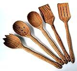 Utensil Set. Wooden Cute Kitchen Utensils Set. Kitchen Supplies & Utensils Big Set of 5 made of Oak Wood