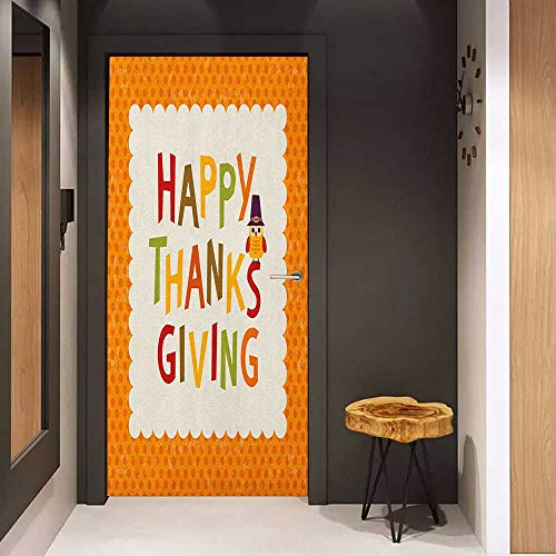 Door Wall Sticker Kids Thanksgiving Little Owl with Pilgrims Hat Celebratory Phrase and Polka Dots Mural Wallpaper W30 x H80 Orange Multicolor