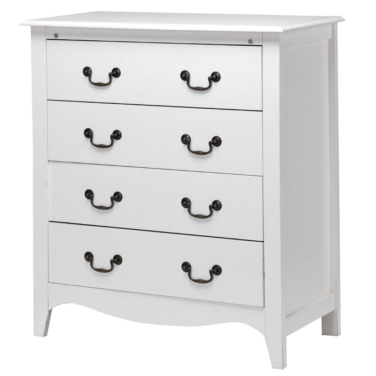 Giantex Chest Dresser Organizer Storage Cabinet Home Bedroom Living Room Furniture End Table Accent Armoire w/ 4 Big Drawers, White by Giantex