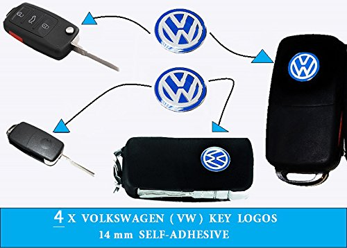 4X Volkswagen VW Emblem Logo Blue 14mm Key Fob Decal Remote Replacement 4 Logos VW logo