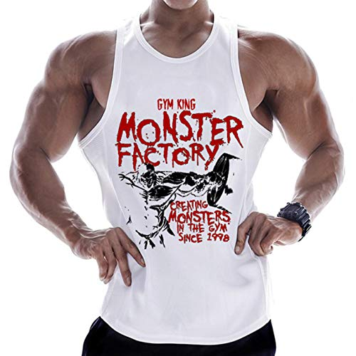 PAIZH Men's Muscle Gym Workout Stringer Tank Tops Bodybuilding Fitness T-Shirts (Monster-White,3XL)