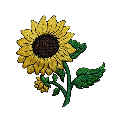 ID #6046 Budding Sunflower Plant Flower Iron On Embroidered Patch Applique
