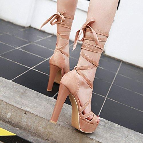 Verano Agua de Hebilla Sexy Tacón Gruesas Alto Sandalias ZHZNVX de Plataforma Pink Correas a con Discoteca nuevos Prueba de Boca Pescado de Zapatos dxgWw1qa