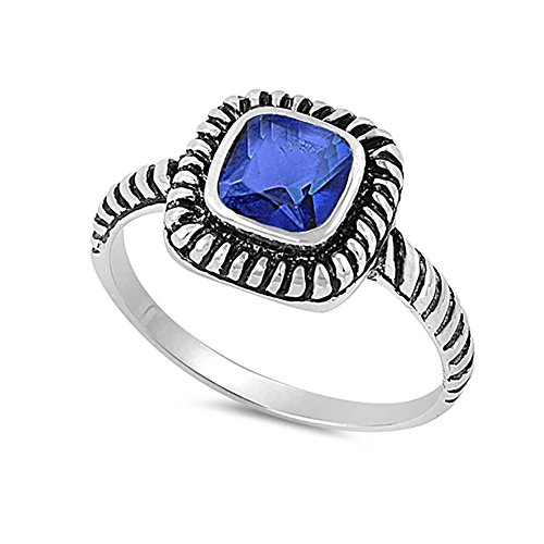 Bezel Solitaire Twisted Cable Oxidized Design Fashion Ring Princess Cut Simulated Blue Sapphire 925 Sterling Silver