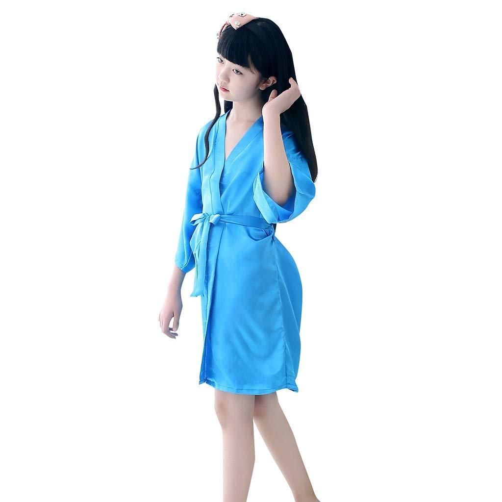 Clothful???????????? , Toddler Baby Kids Girls Solid Silk Satin Kimono Robes Bathrobe Sleepwear Clothes Sky Blue