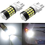 Alla Lighting Super Bright LED 3156 3157 Bulb High Power 2835 SMD 4057 3156 3056 4114 3057 3157 LED Bulb 6000K Xenon White T25 Wedge Turn Signal/Back-Up/Brake Stop Tail Light Lamp Bulbs (Set of 2)