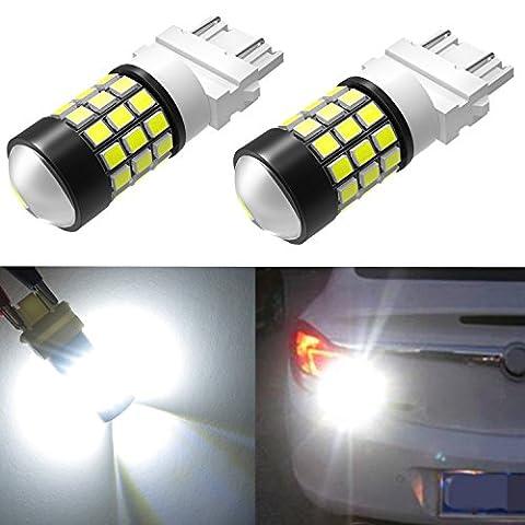 Alla Lighting 39-SMD High Power 2835 Chipsets Super Bright 6000K Xenon White 4157NAK 3157 3156 3057 3056 LED Bulbs T25 Wedge SMD Light Lamps (2002 Ford Focus Brake Light)