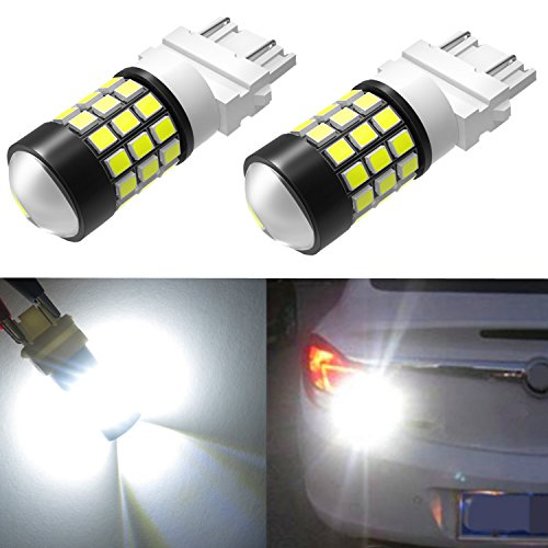 Alla Lighting Super Bright LED 3156 3157 Bulb High Power 2835 SMD 4057 3156 3056 4114 3057 3157 LED Bulb 6000K Xenon White T25 Wedge Turn Signal/Back-Up/Brake Stop Tail Light Lamp Bulbs (Set of 2) ()