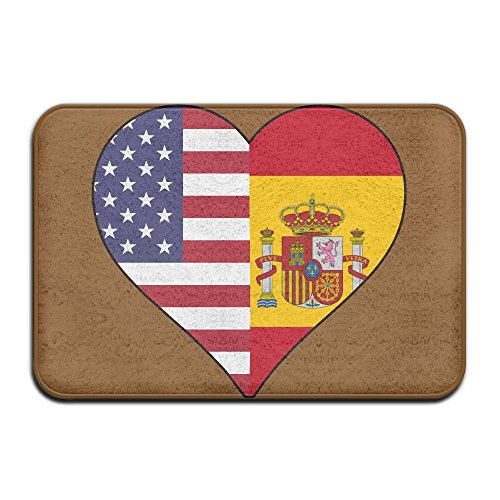 HONMAt-Non Half Spain Flag Half USA Flag Love Heart Indoor Outdoor Entrance Rug Non Slip Bath Mat Doormat Rugs For Home by HONMAt-Non