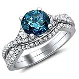 1.50ct Blue Round Diamond Engagement Ring Bridal Set 18K White Gold