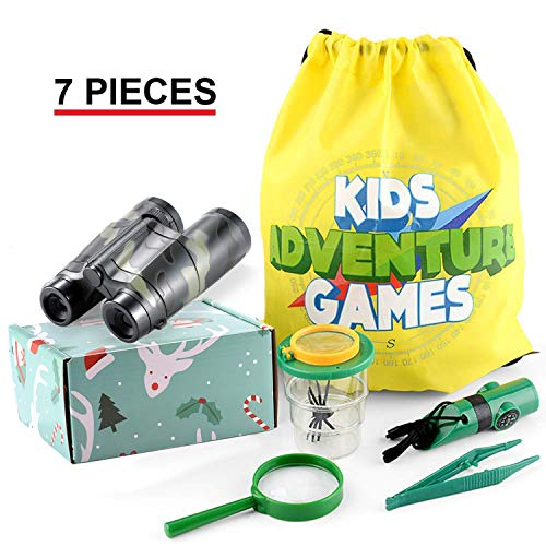 Petask Outdoor Exploration Kit for Kids, 10-in-1 Kidz Adventure Kits with Binoculars Insect Viewer Flashlight Compass Whistle Magnifying Glass Tweezer Backpack, Camouflage