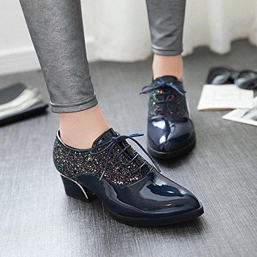 Ciondolo Donna Moda Paillettes Vernice Pelle Stringate Oxford Scarpe Blu