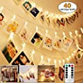 Bluesmile 40 Photo Clips String Lights, Battery Operated LED Fairy String Lights with Clips for Hanging Photo, Cards, Artwork, Dorm Wall Bedroom Decorations, Remote Control & 8 Modes Choice