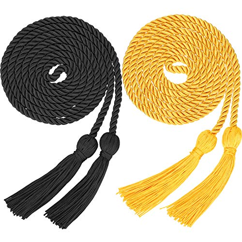 2 Pieces Graduation Cords Polyester Yarn Honor Cord with Tassel for Graduation Students (Gold and Black)