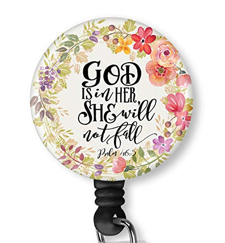 Inspirational Quote God is in Her She Will Not Fail Retractable ID Card Badge Holder with Alligator Clip, Name Nurse Decorative Badge Reel Clip on Card Holders (Holder Quote Badge)