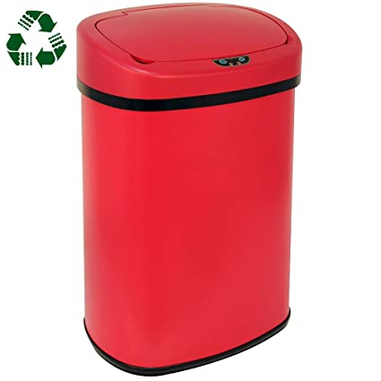 Kitchen Trash Can Bathroom Bedroom Office Garbage Can with Lid Automatic  Touch Free Waste Bin Stainless Steel 13 Gallon / 50L,Red