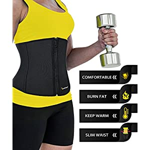 Junlan Women Weight Loss Waist Trimmer Trainer Belt Sauna Neoprene Workout Corset Body Shaper Tummy Ab Cincher Shapewear (Black, M)
