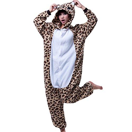 eYourlife2012 Cosplay Costume Animal Leopard Bear Pajamas Sleepwear (Mens Leopard Onesie)
