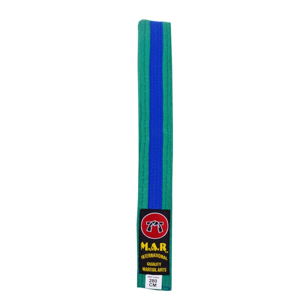 M.A.R International Ltd. MAR Green & Blue Stripe Belt -Karate Belts/Judo Belts
