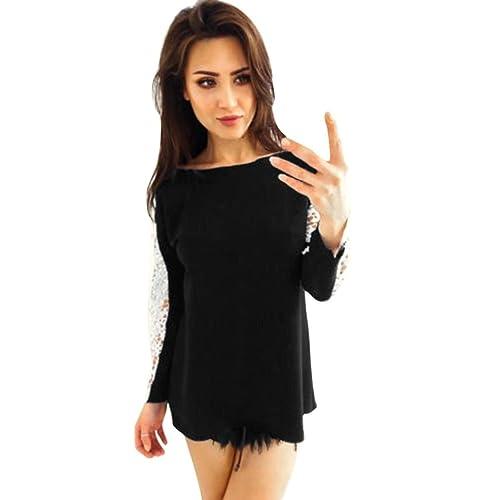 Yannerr mujer bordado de encaje de manga larga blusa superior de las señoras moda casual Tops camise...