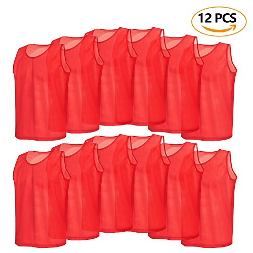 12 Pack Mesh Scrimmage Training Vests Football Vest Breathable Adults Jerseys Bibs for Volleyball Soccer Basketball