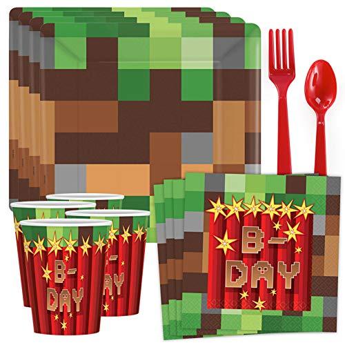 Costume SuperCenter Pixelated Birthday Standard Tableware Kit (Serves 8) -