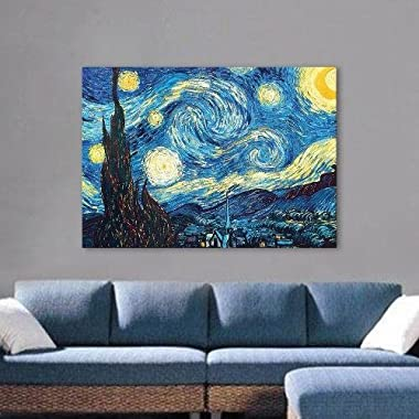 ARTS Wall Decoration Famous Painting Reproduction Vincent Van Gogh Starry Night Oil Painting Reproduction (61x81x5cm(Ready to Hang))