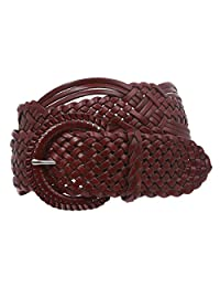 "2"" (50 mm) Genuine Leather Braided Woven Belt, Burgundy 