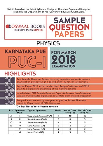 Amazon oswaal karnataka pue sample question papers for puc i oswaal karnataka pue sample question papers for puc i physics march 2018 exam by malvernweather Gallery