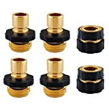 Garden Hose Quick Connect Fittings, Brass Water Hoses Quick Connect Release, Pressure Washer Hose Connector Female & Male 3/4'' (6 PCS)