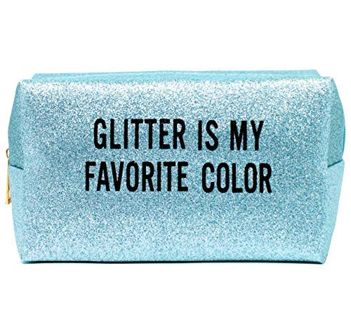 by you Portable Makeup Case Cosmetic Bag Pouch Travel Organizer Purse With Zipper (GLITTERED-BLUE)