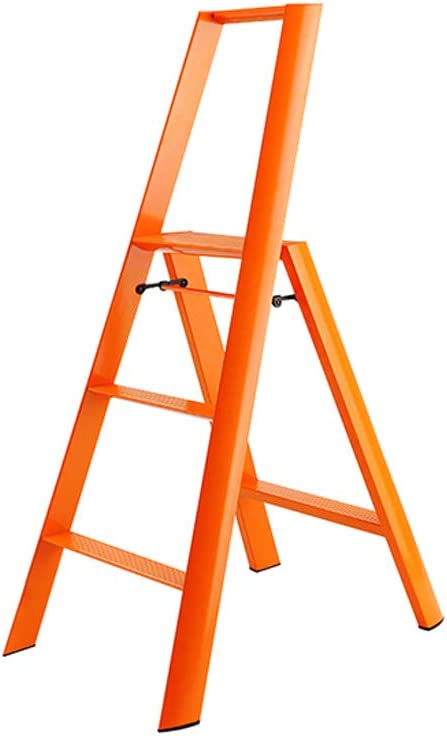 Nevy- Apoyabrazos de la Escalera de un Solo Lado Plegable del hogar del Taburete del Paso de la aleación de Aluminio Solo, Escalera de 3 Pasos (Color : Red): Amazon.es: Hogar