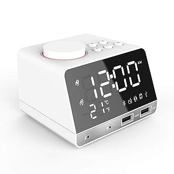 Reloj despertador inteligente Multifuncional Reloj digital Reloj FM Radio Bluetooth Altavoz Termómetro interior con puerto USB