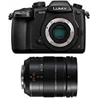 Panasonic DC-GH5KBODY Lumix 4K Mirrorless Camera Body, 20.3 MP, 3.2 LCD & Panasonic LUMIX G LEICA H-ES12060