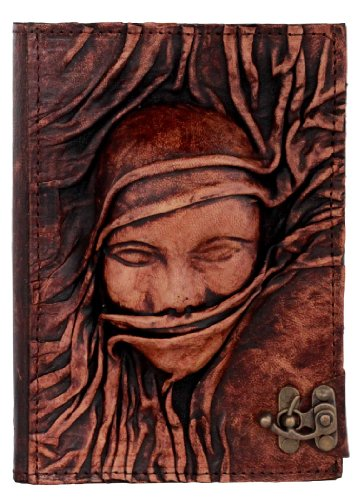 embossed scarfed woman face on a brown leather journal vintage style notebook daily diary