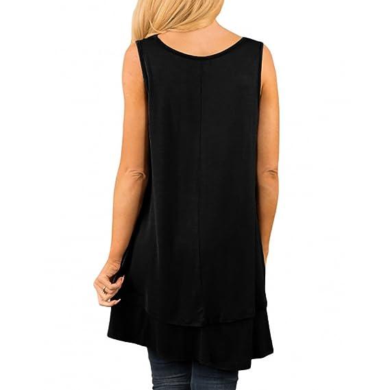 Amazon.com: Sunhusing Womens Solid Color V-Neck Sleeveless Loose Tank Tops Irregular Ruffle Layered Hem Tunic Top: Clothing